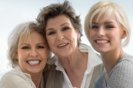 Young, middle-aged and older women